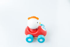 Wooden toy car on white background Royalty Free Stock Image
