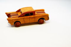 Wooden Toy Car. On white background Stock Photo
