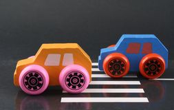 Wooden toy cars Royalty Free Stock Photos