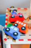 Wooden toy cars Stock Photo