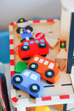 Wooden toy cars Royalty Free Stock Image