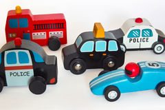 Wooden toy cars Stock Photography