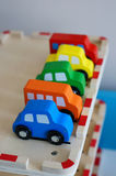 Wooden toy cars Stock Images