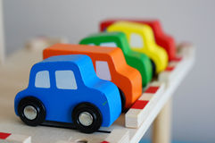 Wooden toy cars Royalty Free Stock Photography