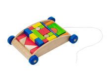 Wooden toy cart Royalty Free Stock Images