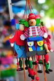 Wooden toy clowns Stock Images
