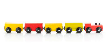 Wooden toy colored train Royalty Free Stock Image
