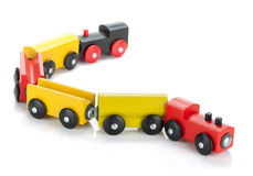 Wooden toy colored train Stock Image