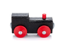 Wooden toy colored train Royalty Free Stock Images