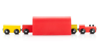 Wooden toy colored train in tunel Royalty Free Stock Image