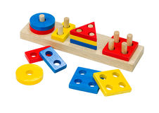 Wooden toy colorful bricks Stock Images
