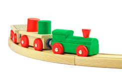 Wooden toy colorful train isolated Royalty Free Stock Photos