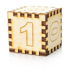 Wooden toy cube isolated on the white background Royalty Free Stock Photo