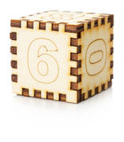 Wooden toy cube isolated on the white background Stock Photography