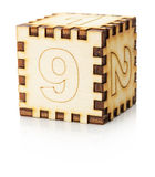 Wooden toy cube isolated on the white background.  stock photos