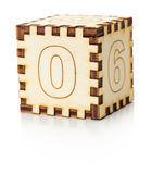 Wooden toy cube isolated on the white background Stock Photo