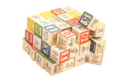 Wooden toy cubes with letters. Royalty Free Stock Photography