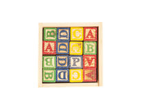 Wooden Toy Cubes With Letters On Box Stock Photo