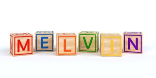 wooden toy cubes with letters with name melvin. Wooden toy cubes with letters with name Louis 3D Illustration Stock Photos