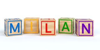 wooden toy cubes with letters with name milan. Wooden toy cubes with letters with name Louis 3D Illustration Stock Photography