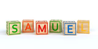 wooden toy cubes with letters with name samuel. Wooden toy cubes with letters with name Louis 3D Illustration Royalty Free Stock Photos