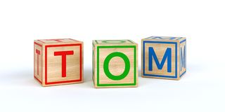 Wooden toy cubes with letters with name tom. Wooden toy cubes with letters with name Louis 3D Illustration stock illustration