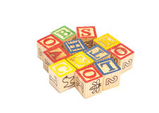 Wooden toy cubes with letters. Wooden alphabet blocks Stock Photo