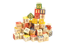 Wooden toy cubes with letters. Wooden alphabet blocks Royalty Free Stock Images