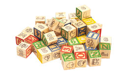 Wooden toy cubes with letters. Wooden alphabet blocks Stock Photography