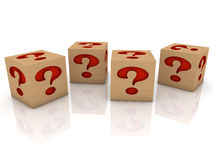 Wooden toy cubes with question marks Stock Photos