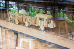 Wooden toy decorated on table Royalty Free Stock Photos