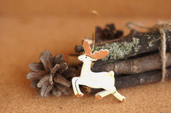 Wooden toy deer Stock Photos