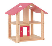 Wooden toy dollhouse Stock Images