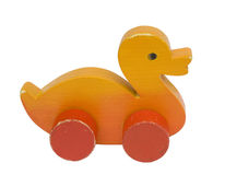 Wooden toy duck. Old vintage wooden toy duck Stock Photo