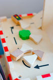 Wooden toy figures Royalty Free Stock Photos