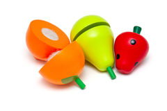 Wooden toy fruits Royalty Free Stock Photos