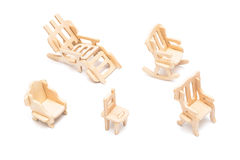 Wooden toy furniture Royalty Free Stock Images