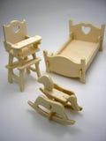 Wooden toy furniture of children`s bedroom. Wooden building blocks toy:furniture of children`s bedroom,vertical closeup Stock Images