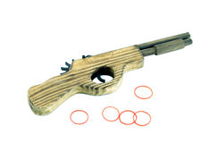 Wooden toy gun Stock Images