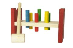 Wooden toy hammer and nails Royalty Free Stock Photo