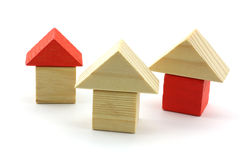 Wooden toy homes Stock Photo