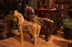Wooden toy horses. Carved wooden toy horse sculptures Stock Photo