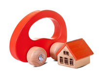 Wooden  toy house and car Stock Photography