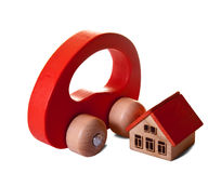 Wooden  toy house and car. Isolated on white background with grey shadow Stock Images