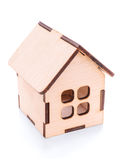 Wooden toy house isolated with clipping path. Small wooden toy house close up. Isolated on white, clipping path included Royalty Free Stock Photos