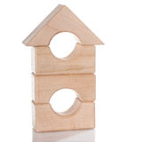 Wooden toy house isolated Stock Photos