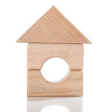 Wooden toy house isolated Royalty Free Stock Photo