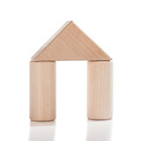 Wooden toy house isolated Stock Images