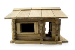 Wooden toy house profile photo. Isolated wooden toy home profile view Royalty Free Stock Images