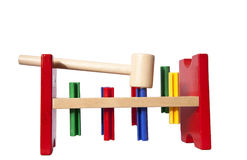 Wooden toy for kids with hammer Stock Photo